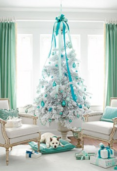 White-christmas-tree-colorful-theme-ideas-decoration-teal-blue-stylish-very-unique-combination-for-holiday-decor-idea-240x350